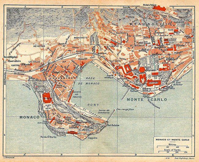 מפה עתיקה של מונטה קרלו - מונקו