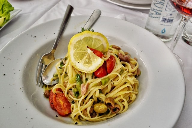 פסטה עם פירות ים במסעדת Crazy Fish Monte Carlo